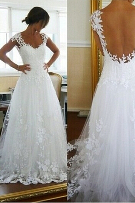 White Lace Long Formal Gown Elegant Women Lace Prom Dress