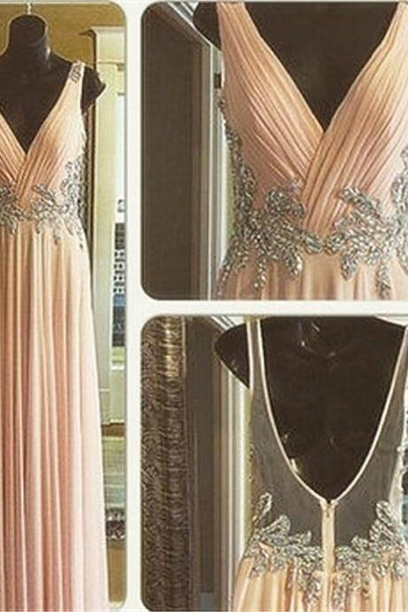 V Neck Blush Pink Beading Prom Dress Open Back Party Dresses Long Chiffon Homecoming Dress