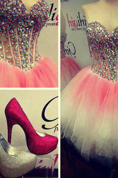 Sweetheart Beading Homecoming Dress Gradient Color Graduation Dresses Short Prom Dress
