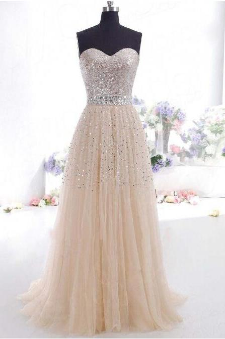 Long Tulle Sequin Prom Dress Showcasing Beaded Embellished Sweetheart Bodice