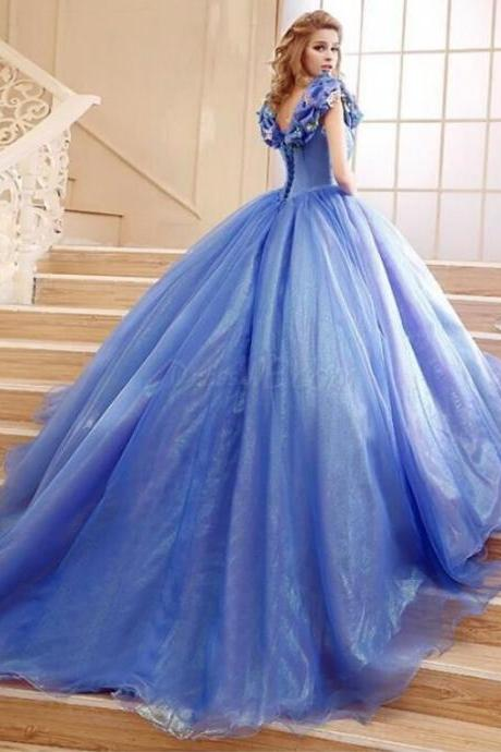 Elegant Off the Shoulder Cinderella Princess Lace-Up Ball Gown