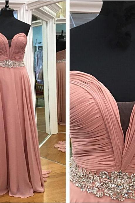 Charming Sweetheart Blush Pink Beading Prom Dress Simple Evening Dresses Long Formal Dress