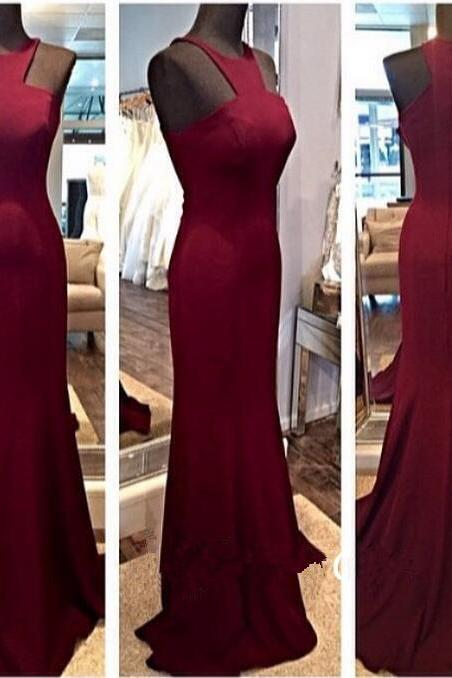 Gorgeous Fitted Burgundy Halter High Neck Formal Prom Gown