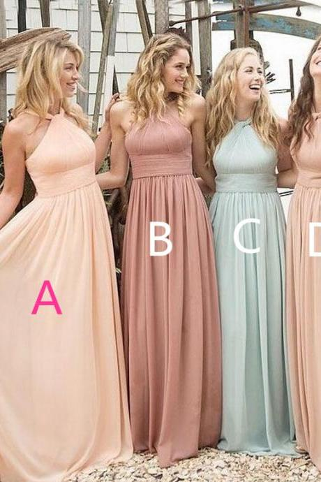 Elegant Halter New Arrival Bridesmaid Dress,Long Chffion Simple Bridesmaid Dress,A line Prom Dress