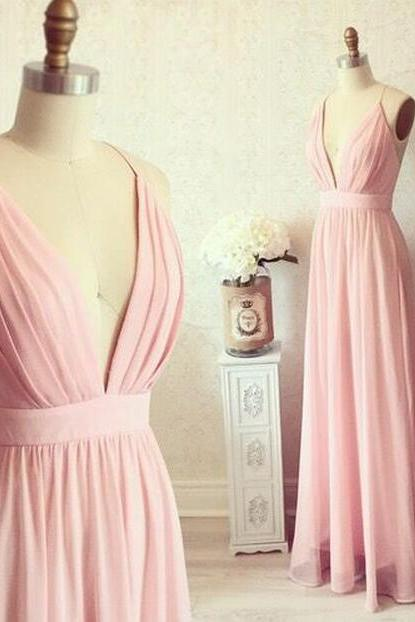 Charming Prom Dress,Deep V Neck Prom Dress,Pink Prom Dress,Chiffon Prom Dress,Long Party Dress