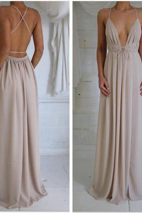 Nude low-back with elastic waistband Prom Dress cross-over straps Evening Gowns