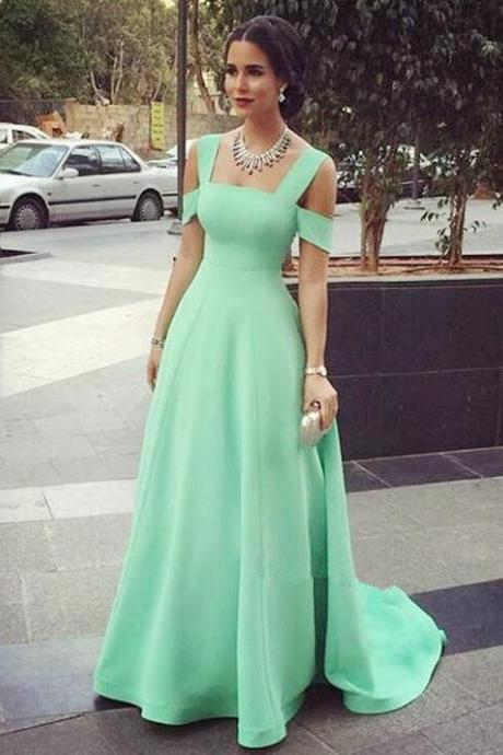 Simple Floor Length A-Line Prom Dress Featuring Cold Shoulder Bodice in Green