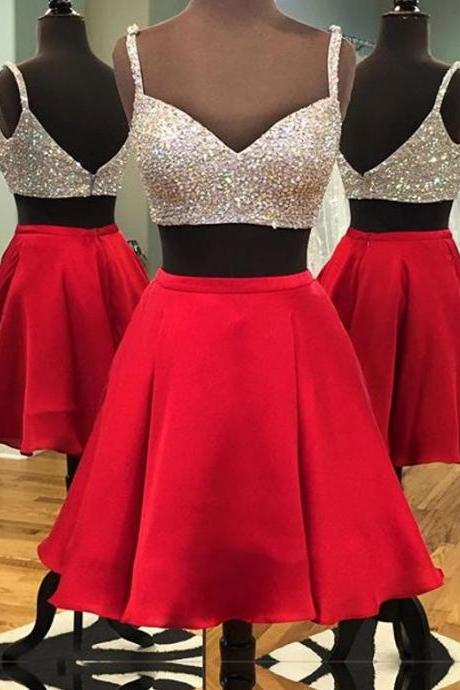 Two piece homecoming dress,red party dress,spaghetti strap beading homecoming dresses,a line dress,satin homecoming dresses