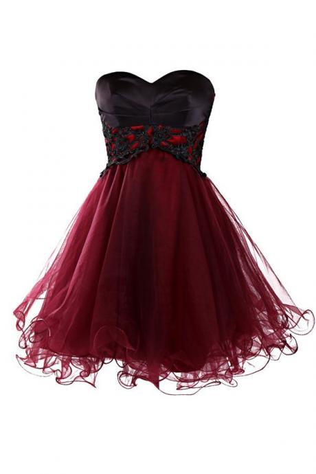 Charming Wine Red Tulle Short Lace Up Prom Gown,Mini Prom Dresses,Homecoming Dresses