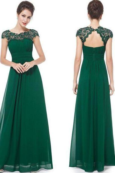 Charming Floor Length Cap Sleeve Lace Bridesmaid Dress,Dark Green Prom Dresses,Long Chiffon Evening Dresses