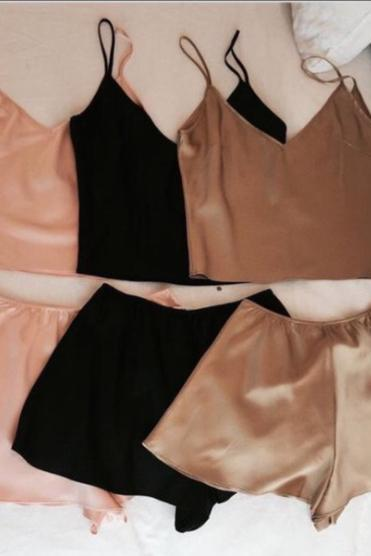 Silky Satin Pajamas,Two Piece Sleepwear, shorts set for pajamas,blush /black/brown pajamas set