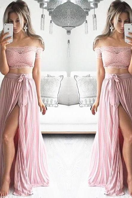 Blush Two-Pieces Long High Slit Pleated Evening Dress Featuring Lace Off-The-Shoulder Crop Top