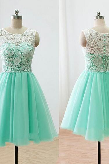 Sleeveless Green Prom Dress,Illusion Lace Prom Dresses with Buttons,Elegant Mint Short Homecoming Dress