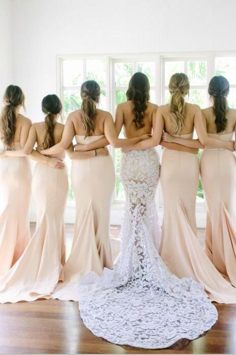 Sweethert Light Pink Long Bridesmaid Dress,Strapless Mermaid Prom Dress,Sexy Bridesmaid Dresses for Wedding