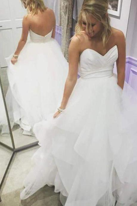 White Ruched Sweetheart Floor Length Tulle Ruffled Wedding Gown