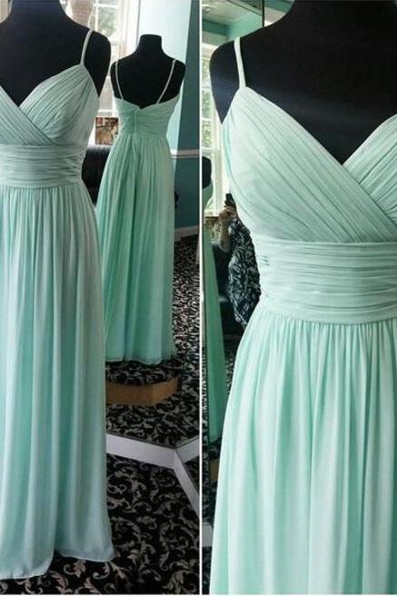 Mint Empire Chiffon Long Bridesmaid Dress Floor Length Wedding Party Dress A line Bridesmaid Dresses