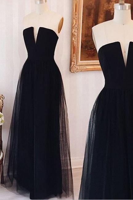 Strapless Black Long Wedding Party Dress Elegant Prom Dress with Zipper Back Formal Gowns