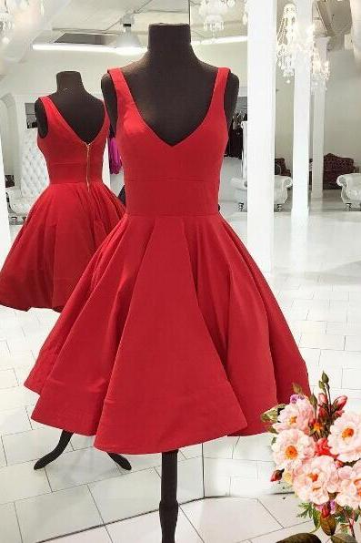 Red Sleeveless Straps Knee Length Homecoming Dress,A Line Party Gowns,Simple Short Prom Dress