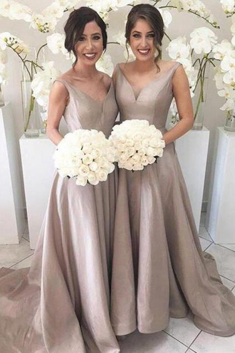 Modest V Neck Gray Long Sleeveless Prom Dress,New Arrival Bridesmaid Dress,Long Sweep Train Party Dress
