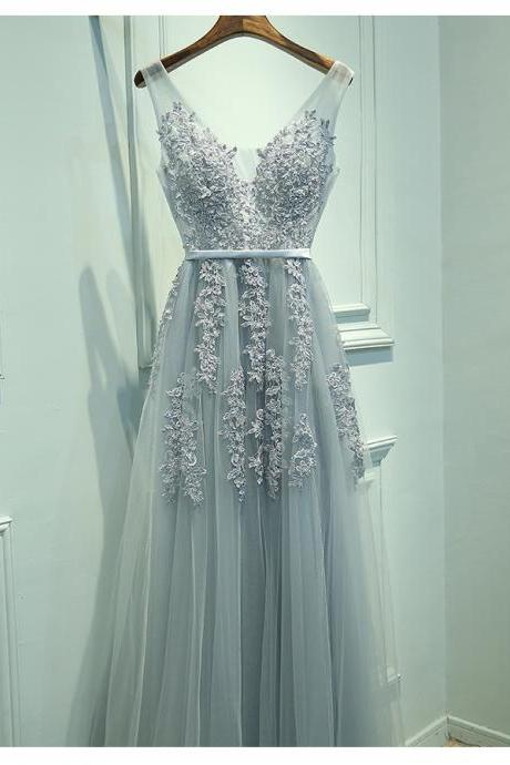 Elegant A-Line V-Neck Sleeveless Gray Long Prom Dress with Lace,Tulle Bridesmaid Dress