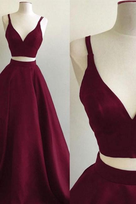 Simple Burgundy Two Piece Long Prom Dress,A Line Evening Dress,Straps Evening Dresses