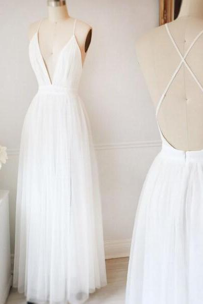 Beautiful White Prom Dress,A Line Simple Wedding Dress,Spaghetti Strap V Neck Party Dress,Formal Dress