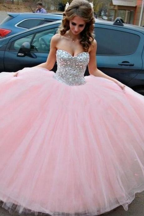 Rhinestones Beaded Sweetheart Neck Puffy Ball Gowns,Pink Women Wedding Dresses,Long Prom Dress
