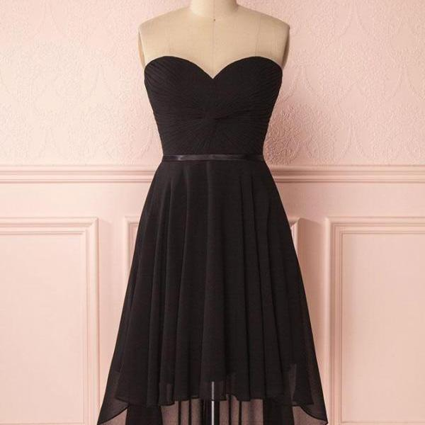 Simple Sweetheart Black Chiffon High Low Prom Dress,Black Homecoming Dress