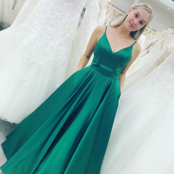 Princess Green V Neck Satin Long Prom Dress with Pockets,Green Evening Dress