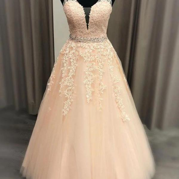 Pink Appliqued Beaded Prom Dress,Tulle A Line Evening Dress