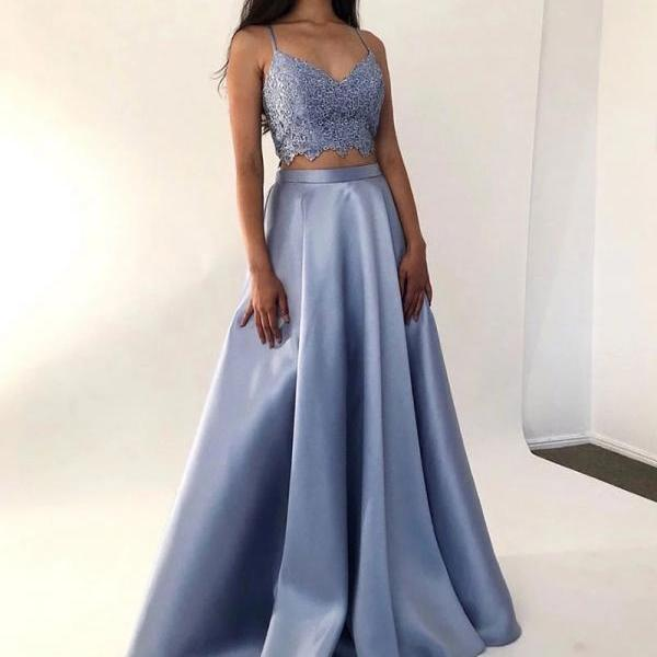 Lilac two pieces long prom dress lace evening dress v neck formal party dress