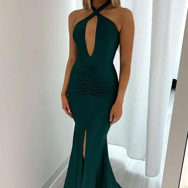 Sexy Dark Green Backless Halter Split Mermaid Evening Dresses Criss Cross Keyhole Neck Prom Dress
