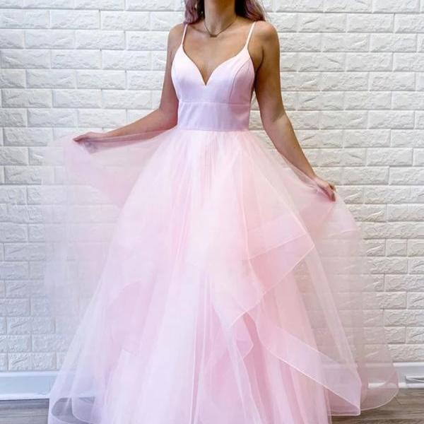 Princess V Neck Tulle Ruffles Long Prom Dress Spaghetti Straps Evening Dress