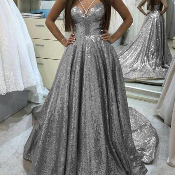 Stunning V Neck Sequins Long Prom Dress,Fashion Ball Gowns,Formal Dress