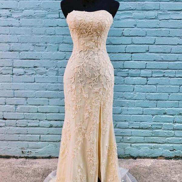 CHAMPAGNE SWEETHEART TULLE LACE MERMAID LONG PROM DRESS