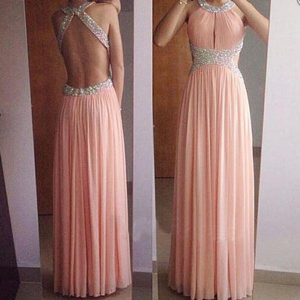 Backless prom dresses, blush pink prom dresses, long prom dresses, sexy prom dress, chiffon prom dresses