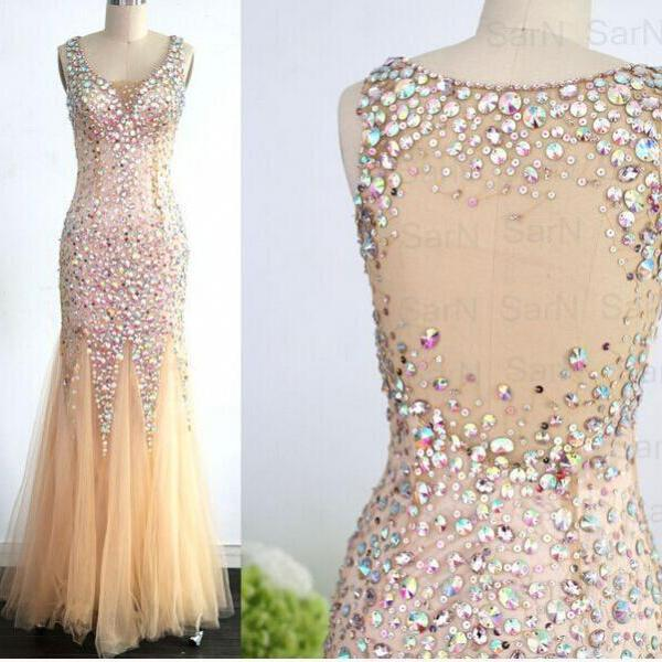 Mermaid Champagne Long Prom Dresses Champagne Tulle with Crystal Prom Gown