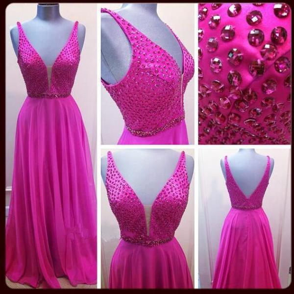 Fuchsia Plunging V Neck Chiffon Formal Gown With Beaded Bodice with V Back