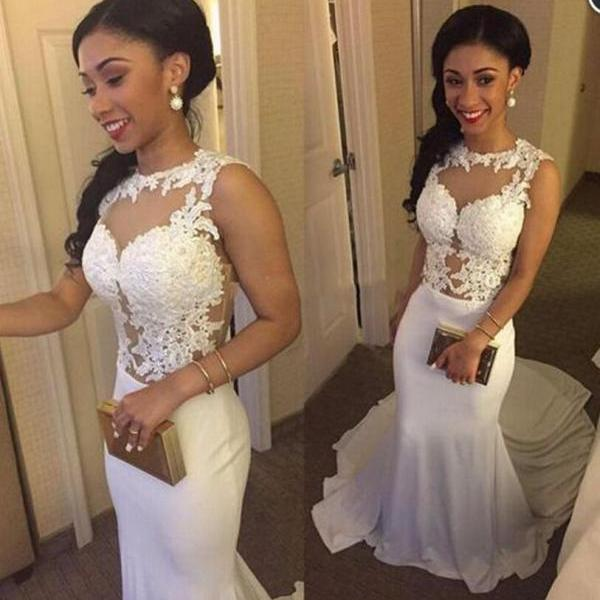 White mermaid prom dress,pretty lace long prom dress,evening dress,formal dresses