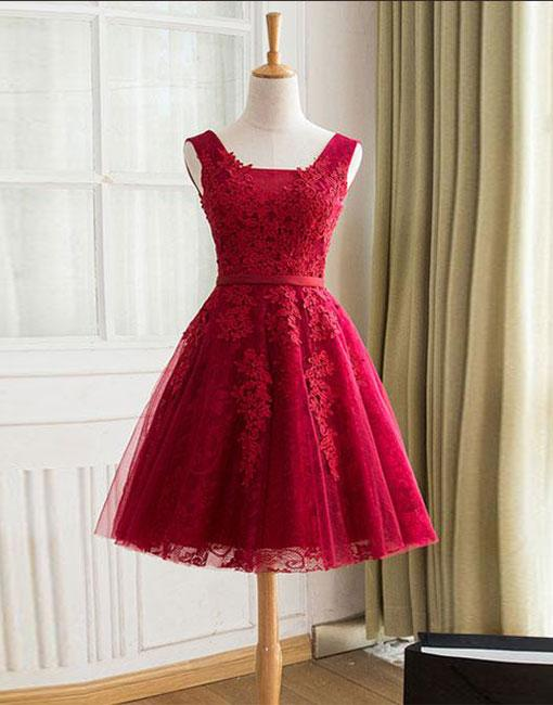 8812dca9a5 Burgundy Tulle Lace Short Prom Dress